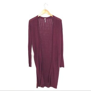 Free People Ribbed Duster Cardigan Burgundy S A5
